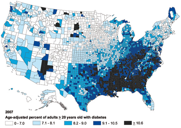 Map of diabetes rates by county. For data, see link above.